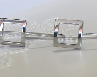 Long Silver Earrings / Geometric Earrings
