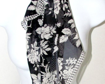 FREE SHIP~~NOS Liz Claiborne Silk Wingtip Scarf, Black White Checks and Flowers, Hand Rolled Fashion Accessory, Scarf Lovers Gift