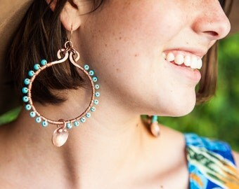 Wire Wrapped Copper Hoops/Turquoise Copper Hoops/35mm Hoops/Hand-Made Hoops/Boho Hoops/Copper Wire Hoops/*FREE GIFT WRAP*