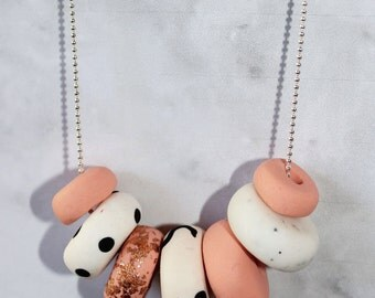 Blush, Copper and Patterned Handmade Polymer Clay Necklace