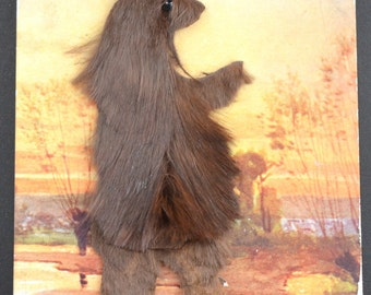 Bear Postcard, Applied Postcard, Brown Bear Postcard, Novelty Postcard, Novelty Applied Hair Postcard, Applied Fur Postcard, Antique Card