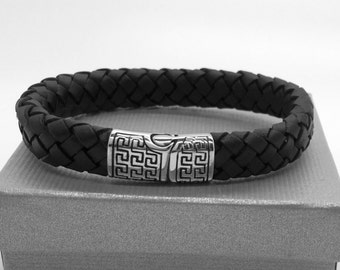 men braided leather and steel bracelet