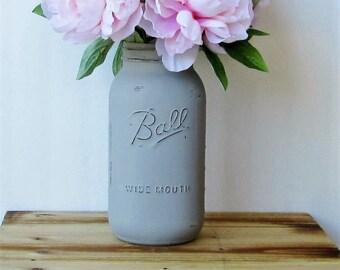 Large Gray Mason Jar /  Half Gallon Painted Mason Jar / Gray Flower Vase / Rustic Centerpiece