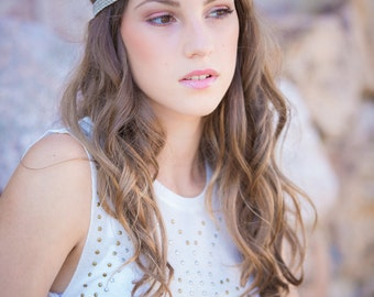 Grey and gold headband - knit hand made - slight elasticity