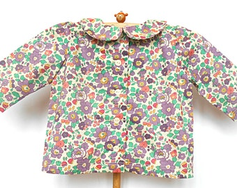 Liberty Print Girl's Peter Pan Collar Blouse