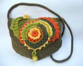 Felted shoulder bag, Felt and crochet purse, Felt merino bag, Girls purse