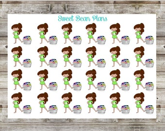 Hand Drawn Doodle Girls- Laundry Planner Stickers