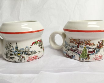 Pair of Classic Christmas Scene Mug-Style Candle Holders
