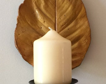 Beautiful- Yellow/Gold Cement Leaf Print Candle Votive/Sconce - Wall Decor