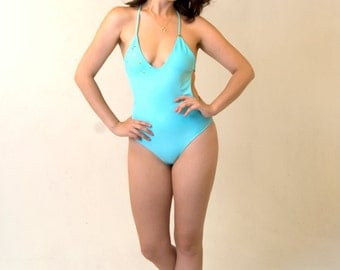 Pool Blue Swarovski Crystal Embellished One Piece Swimsuit