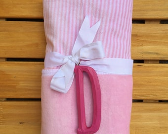 Pink Baby Blanket with Personalized Wooden Initial –Girl- Mud Pie