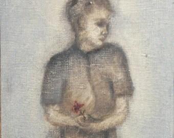 Vintage oil painting child portrait signed