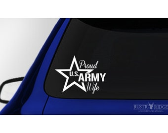 Proud US Army Wife Decal Sticker, Proud Military Wife, Car and Truck Decal
