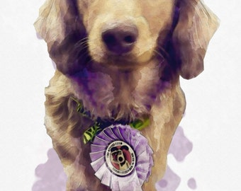 digital commission portrait of your pet in a watercolour effect made to order