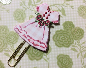 L915-Lil Pink Gingham Dress Planner Clip, decorative paper clips and book marks shaped like dresses
