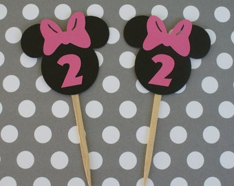 Minnie Mouse Cupcake Toppers, Minnie Cupcake Toppers, Minnie Mouse Cupcake Toppers with Age