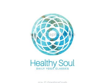 Watercolor Yoga Logo Mandala Logo Design Zen Logo