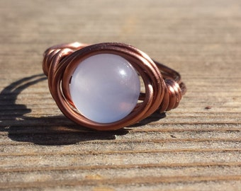 WIRE WRAPPED RING Chalcedony  in Antiqued Copper Handmade