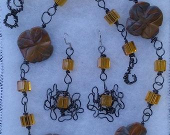 "Rain Forest Jasper Necklace Set, Handmade- Natural Stone,  Cube, Hematite, Design, Collared Necklace (L- 22"")/Earrings (2"")"