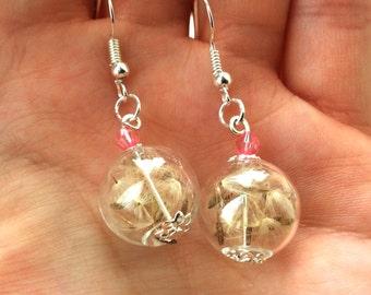 Dandelion seed drop earrings