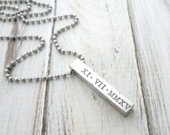 Personalized Necklace - Roman Numerals - Anniversary - Mens Necklace - Kids Name - Personalized Jewelry - Womens Necklace - Bar Necklace
