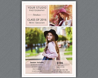 Senior Photography mini session  Template | Photography  Marketing Board  | Photoshop & Elements Template | Instant Download