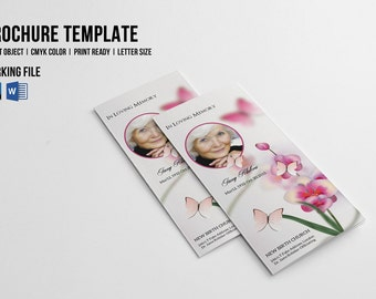 Trifold Funeral Program Template   Printable Memorial Program   Photoshop  And MsWord Template   Instant Download  Printable Funeral Program Templates