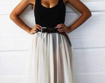Ivory sheer maxi skirt