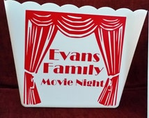 Popcorn, popcorn tub, popcorn bowl, movie quotes, personalized, popcorn,family night,Popcorn bucket