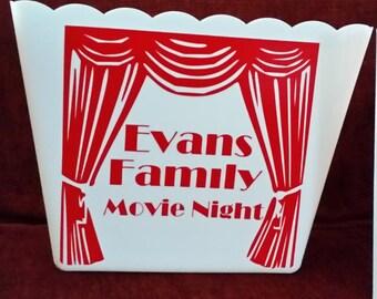 Popcorn, popcorn tub, popcorn bowl, movie quotes, personalized, popcorn,family night,Popcorn bucket
