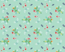 KNIT Fabric Riley Blake Vintage Floral Mint Cotton Lycra Knit Fabric. Sold by the 1/2 Yard