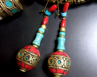 Earrings ethnic Tibet/Nepal, pearls, turquoise, coral, brass.