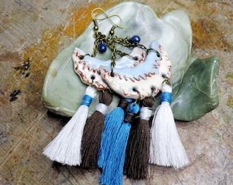 Earrings Bohemian/rustic, artisanal ceramics, PomPoms in cotton, metal color bronze.
