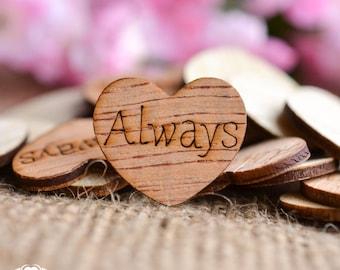 "100 Always Hearts 1"" - Rustic Wedding Decor - Table Confetti - Wooden Hearts - Wedding Invitations"