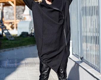 Steampunk Coat, Womens Hoodie, Asymmetrical Coat, Big Hood, Black Wool Coat, Hooded Coat, Plus Size Coat, Womens Outerwear, Minimalist Coat