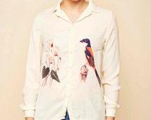 Sale / Buttoned blouse / Floral blouse / Bird print / Elegant blouse / Satin blouse / Animal printed blouse / Boho shirt