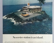 """1970 Shell Service Station Print Ad - """"No service station is an island"""""""