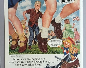 1957 Buster Brown Shoes Print Ad