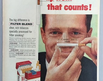 "1959 Winston Cigarette Print Ad - ""Winston tastes good like a cigarette should"""