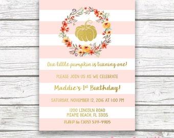 Pink Pumpkin Birthday Invitation, Little Pumpkin First Birthday Invitation Girl, Fall Birthday, Our Little Pumpkin is Turning One Printable