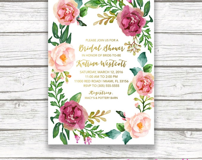 Boho Bridal Shower Invitation, Floral Bridal Shower Invitation, Floral Wreath, Gold Foil Burgundy Maroon Marsala Watercolor Printable Invite