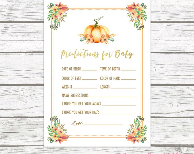 Pumpkin Gold Foil Predictions for Baby Card, Boho Rustic Fall Floral Baby Shower, Printable Baby Shower Wishes Prediction, Baby Shower Games