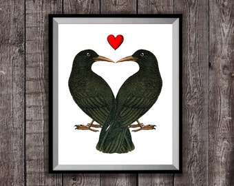 ANNIVERSARY GIFT Crows in Love Art Print, Wedding Present, Boyfriend / Girlfriend Gift, Love Heart Bedroom Decor, Gothic Illustration Art