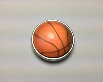 BASKETBALL 20mm Snap Button- glass