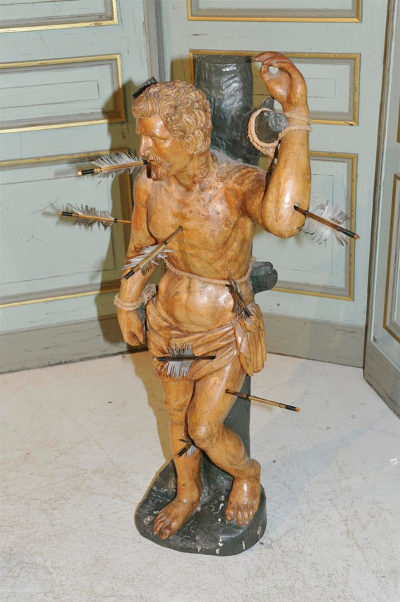 Saint Sebastian Antique Statue Religious French Gothic Hand Carved Wood 19th Century #5346