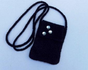 EL BURRO felt bag lady bag 100% wool 14 x 18 cm shoulder bag bag black flap rhinestone