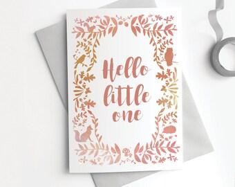 New Baby Girl Card - Hello Little One Woodland Fox Owl Cute Peach Gold Modern Calligraphy Greetings Card