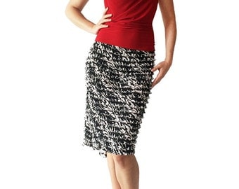 B&W Abstract Ruffle - Godet Tango Skirt