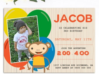 Monkey Invitation - Printable Monkey Birthday Invitation - Boy Birthday - Printable Invitation - Personalized Invitation - Mod Monkey