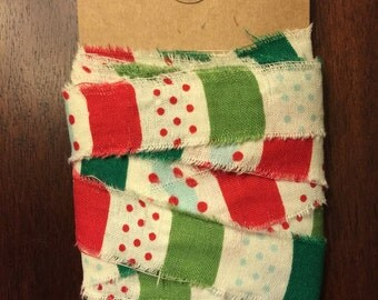 SALE**Hand-ripped Holiday ribbon, 6 yds